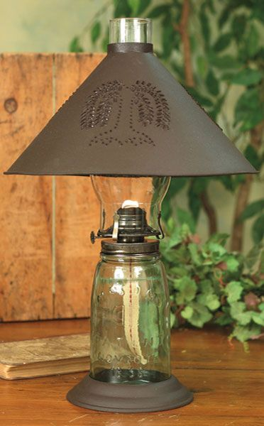 Primitive quart mason jar oil lamp with willow shade country primitive quart mason jar oil lamp with willow shade mozeypictures Images