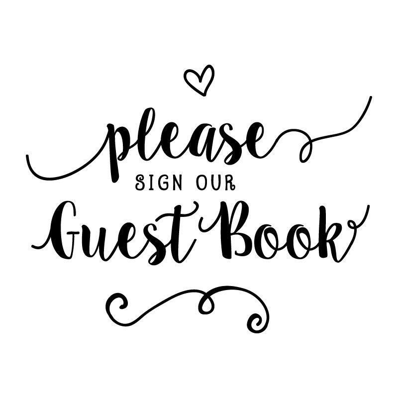 This is an image of Please Sign Our Guestbook Free Printable for sign here
