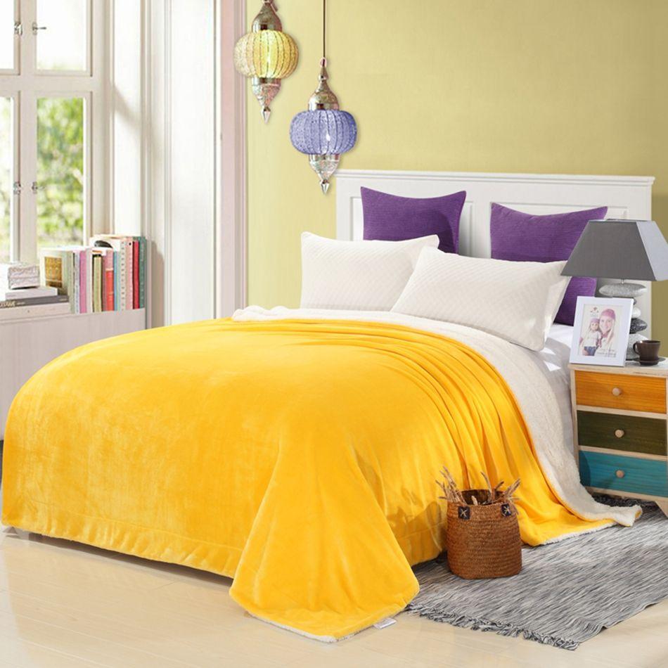 Flannel fleece blanket  Yellow solid color throw blanket on the bedsoft flannel fleece