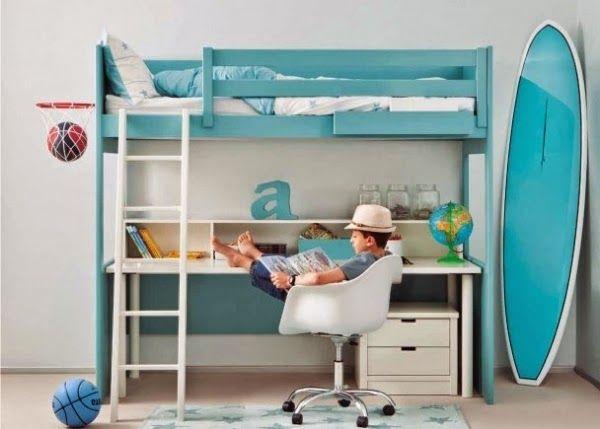 Literas con escritorio debajo dormitorios juveniles - Camas altas con armario debajo ...