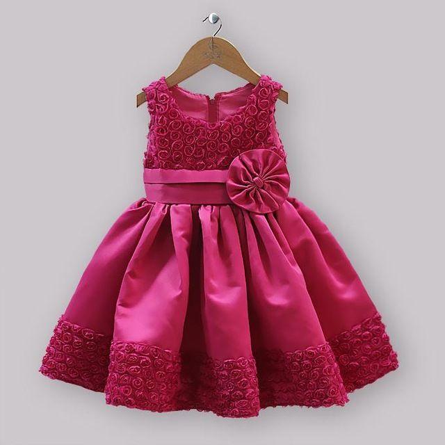 8535297143f5 Novos vestidos de festa meninas crianças cetim e do laço rosa ...