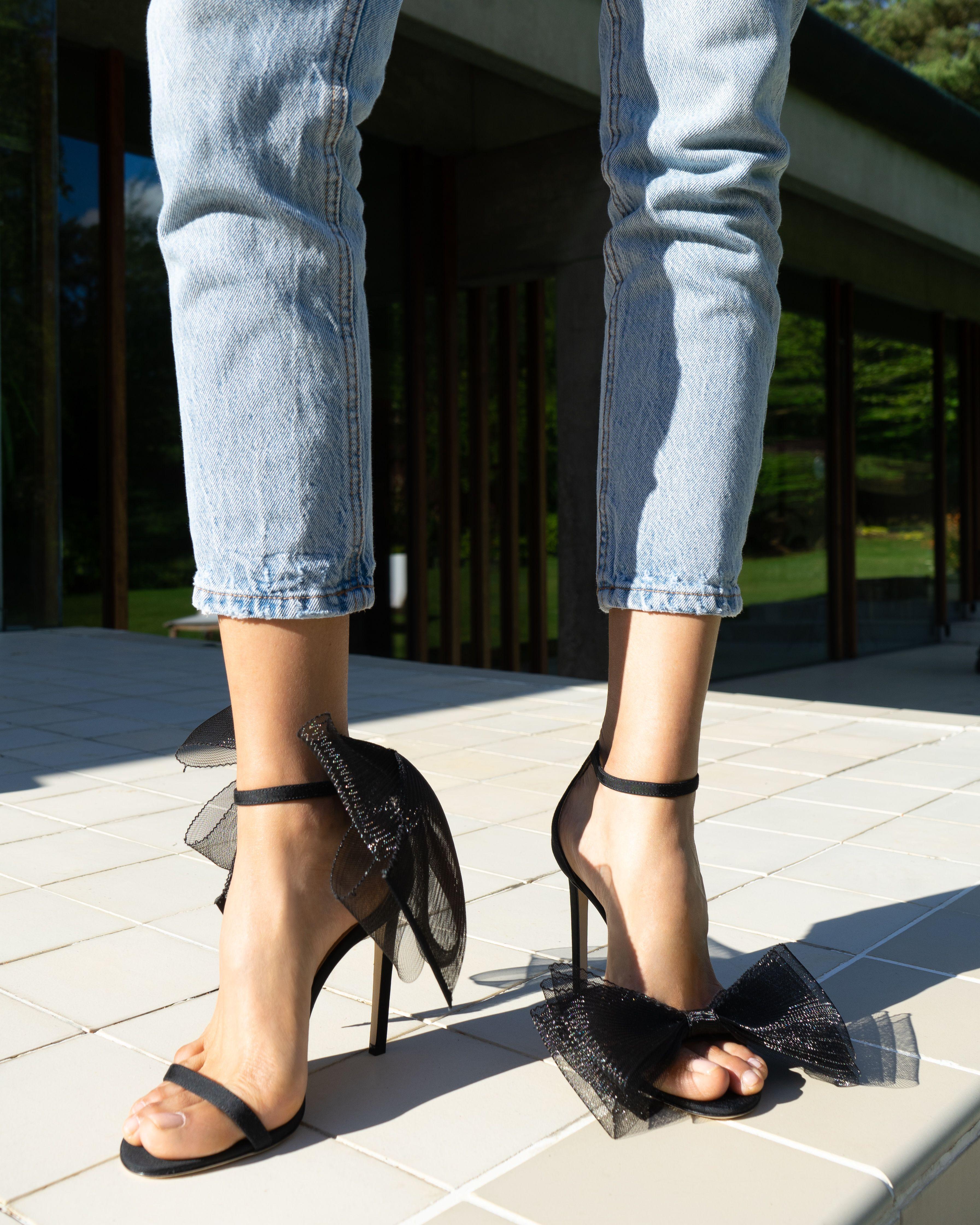 628f1b78cb4 JIMMY CHOO Aveline 100 bow-embellished grosgrain sandals | Dress ...