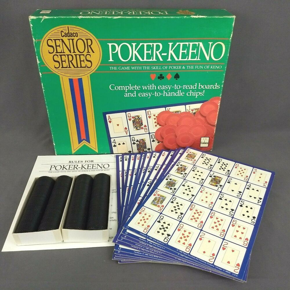 Cadaco Senior Series PokerKeeno Card Game 1989 with Chips