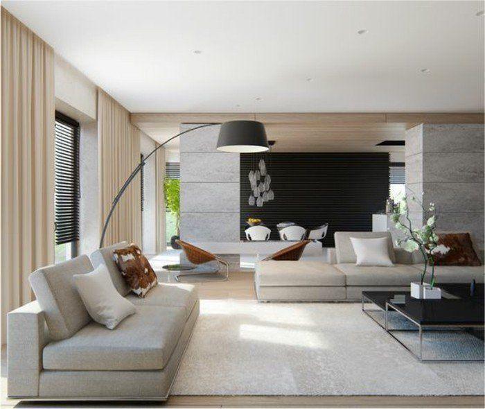 Avec quelle couleur associer le gris dans le salon rideaux beiges · modern