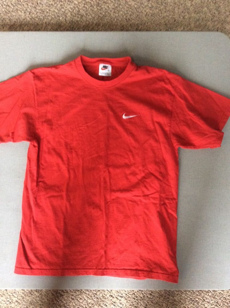 4e34115c1201 Nike vintage t shirt mens red embroidered cotton medium made in USA 27L 22W   fashion  clothing  shoes  accessories  mensclothing  shirts (ebay link)
