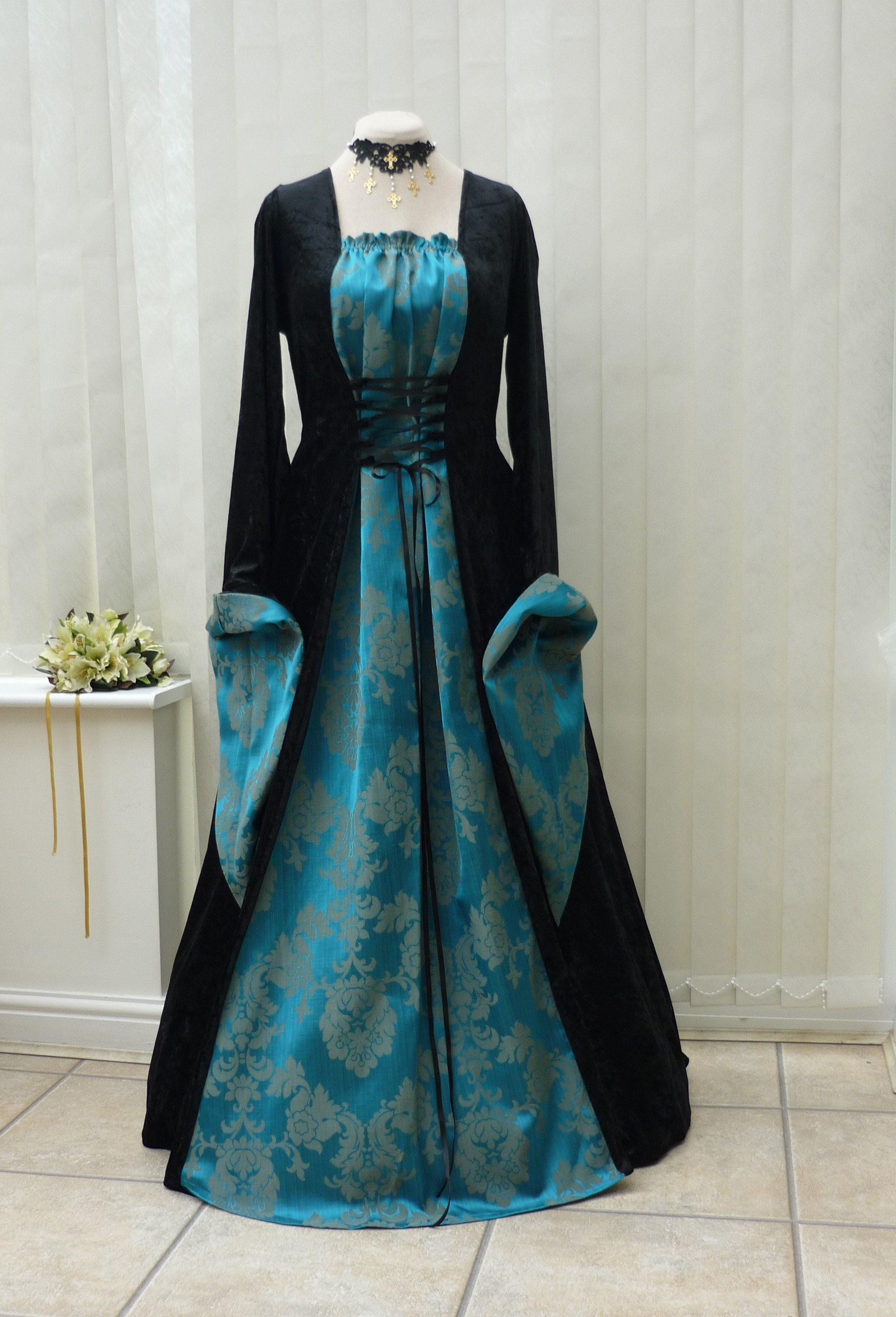 Medieval Gothic Black Teal Blue Dress | MEDIEVAL / ELVEN FASHION ...