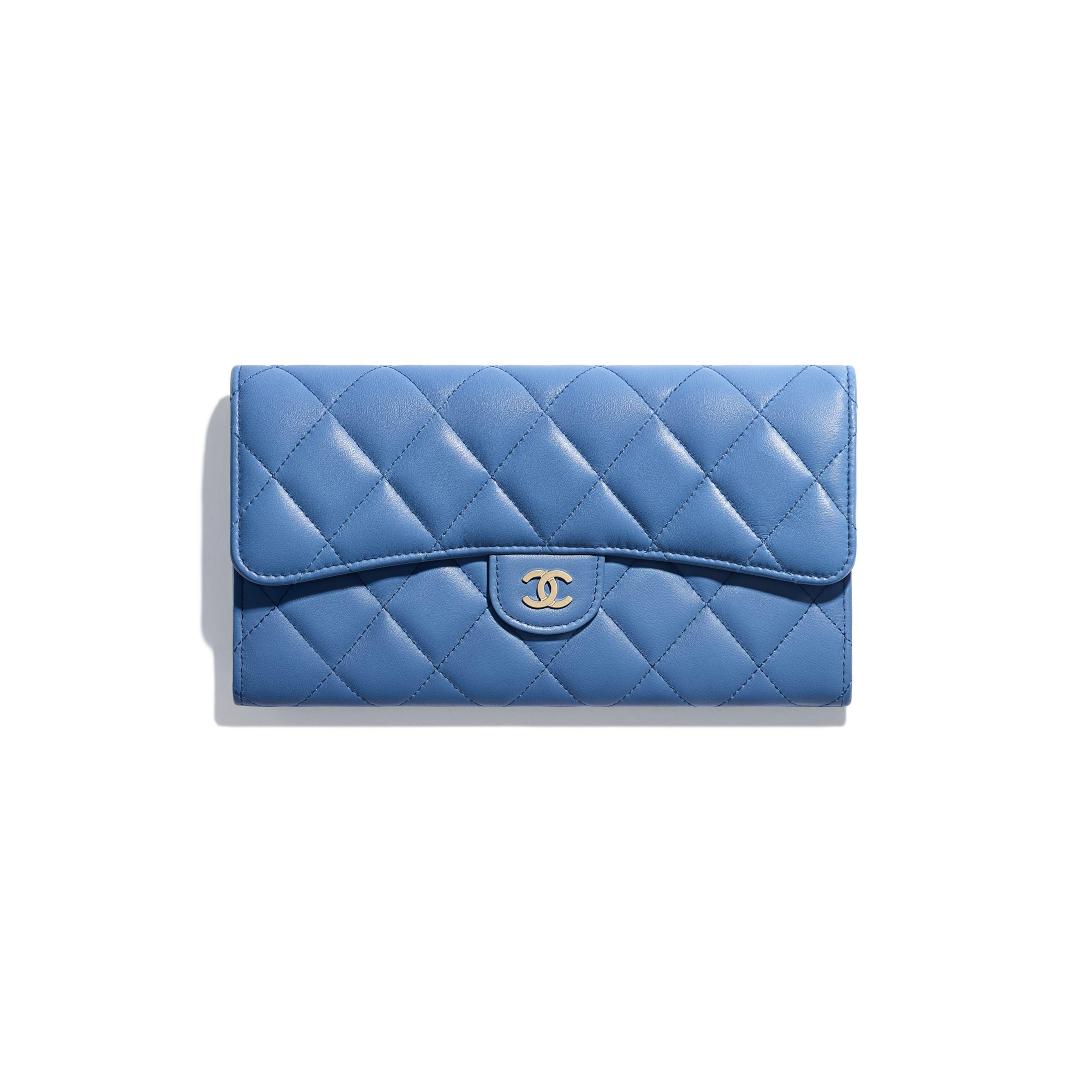 4f669f0632 Classic Long Flap Wallet - Blue - Lambskin & Gold-Tone Metal - Default view  - see standard sized version