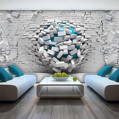 3d Effect Wallpaper Ebay Photo Wallpaper 3d Effect Abstract Bricks Blue Non Woven