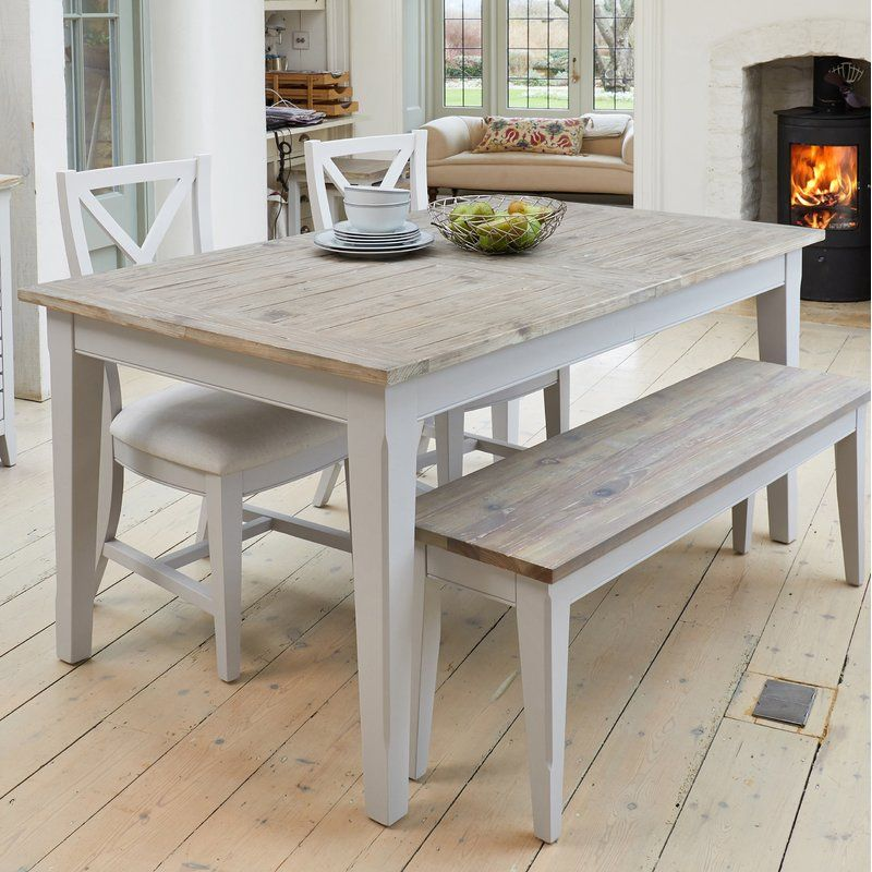Tamalpais Dining Set With 2 Chairs And One Bench Extendable Dining Table Grey Dining Tables Square Dining Tables