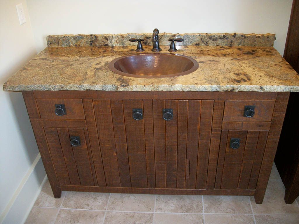 Rough granite countertops edges maple raised panel for Granite bathroom vanity