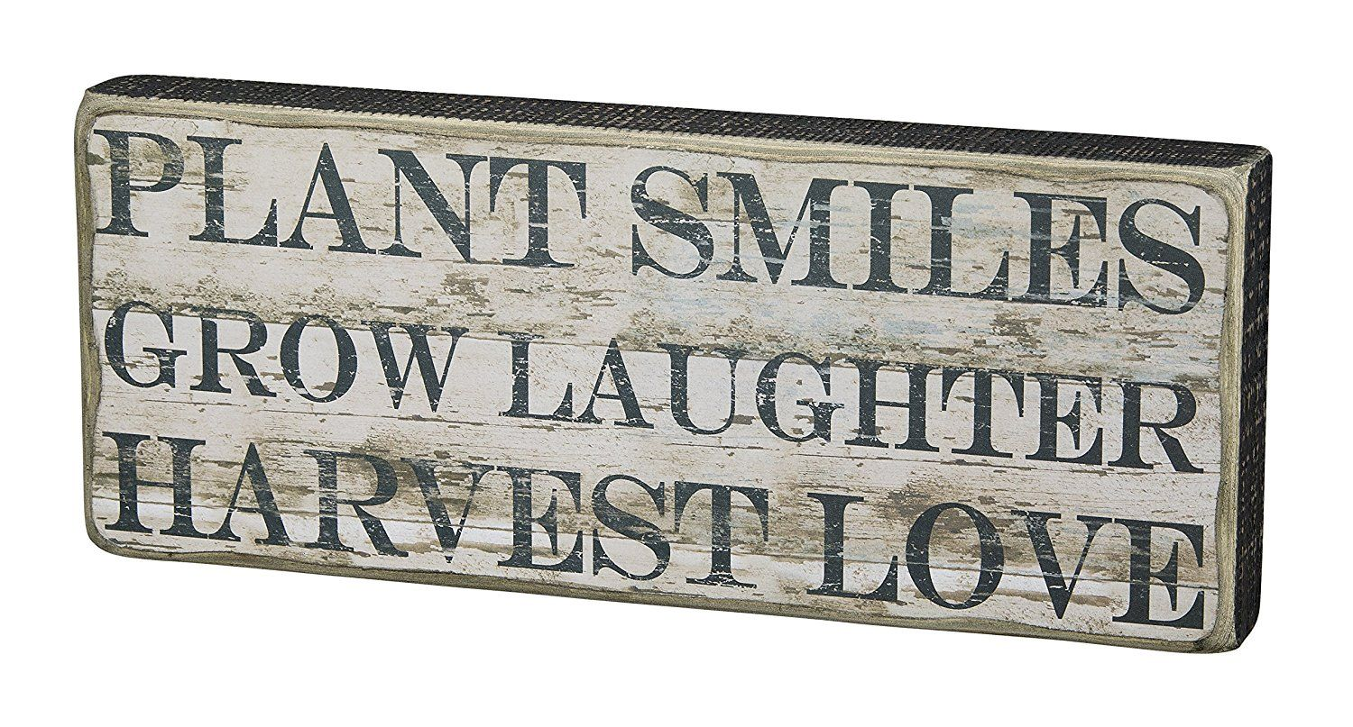 Amazon.com: Primitives by Kathy Box Sign, Plant Smiles, 6 by 15-Inch: Home & Kitchen