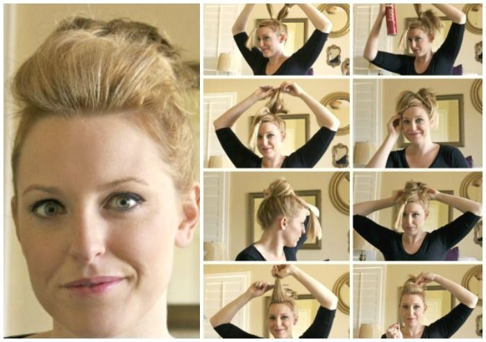 Full Top Knot Hairstyle For Short Thin Hair Somewhat Simple Short Hair Updo Short Thin Hair Short Hair Styles