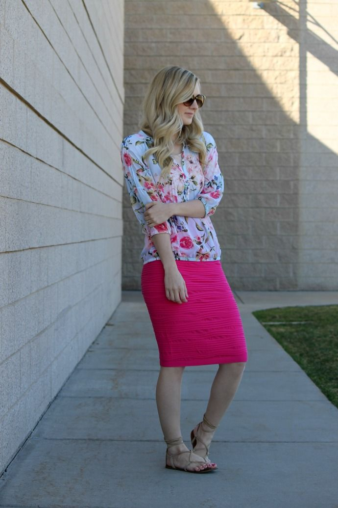 pink pencil skirt, spring fashion, summer style, easy style, casual dressy style, style blogger, my sister's closet boutique, steve madden