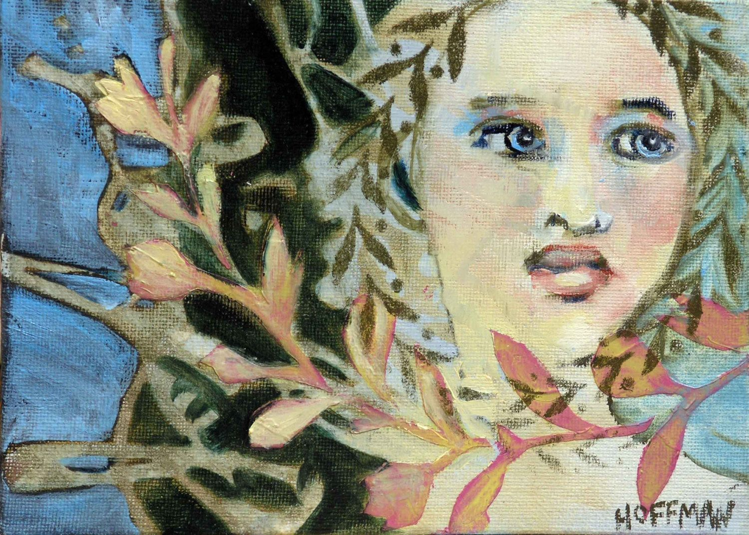 """Dryad,  oil painting on canvas board, original one-of-a-kind artwork, 5"""" x 7"""" by KatieHoffmanFineArt on Etsy"""
