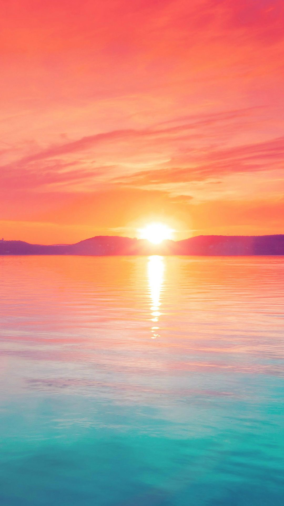 Sunset Night Lake Water Sky Red Flare IPhone 6 Wallpaper