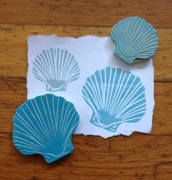 Hand Carved Sea Shell Stamp Set by EnchantingStamps on Etsy, $22.00