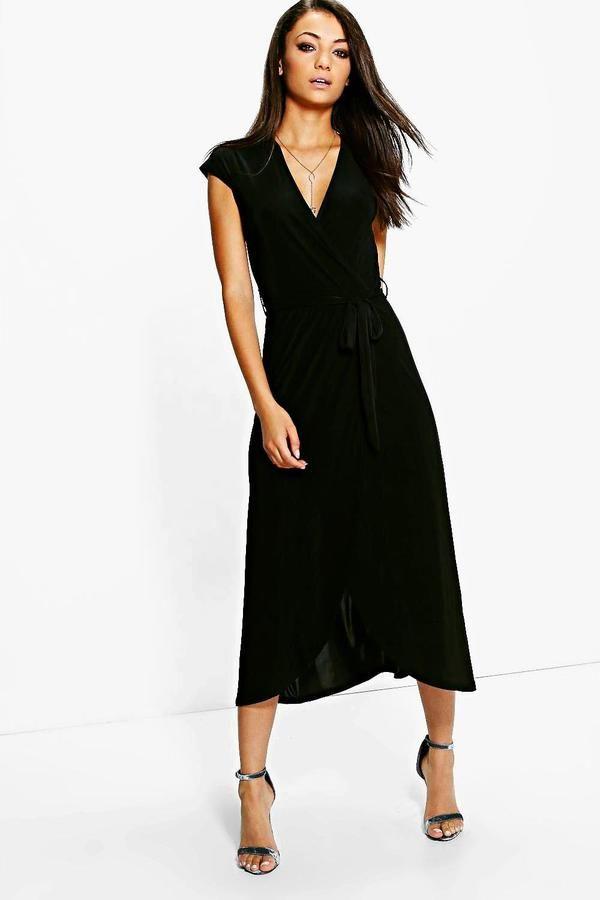 boohoo Tall Shamira Slinky Wrap and Tie Midaxi Dress