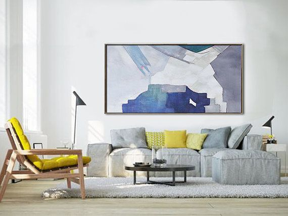 Handmade Original Horizontal Wall Art, Abstract Art Canvas Painting, Large  Art. Gray,