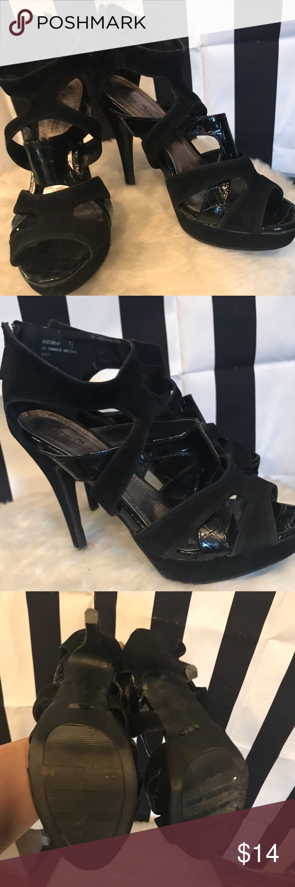 45a5b792108e27 Ann Michelle heels Pre-owned black velvet patent leather caged heels. Silver  insole