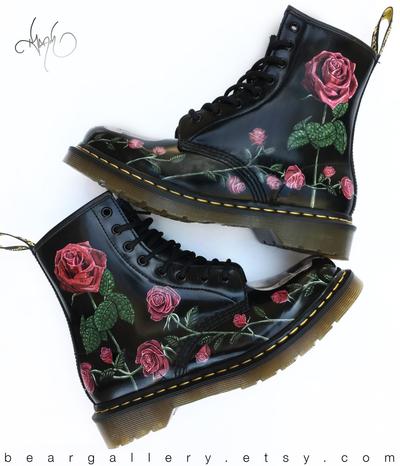 faf5b62c78970 Custom Doc Martens Boots - Roses   Skulls Hand Painted (available without  Skulls!)