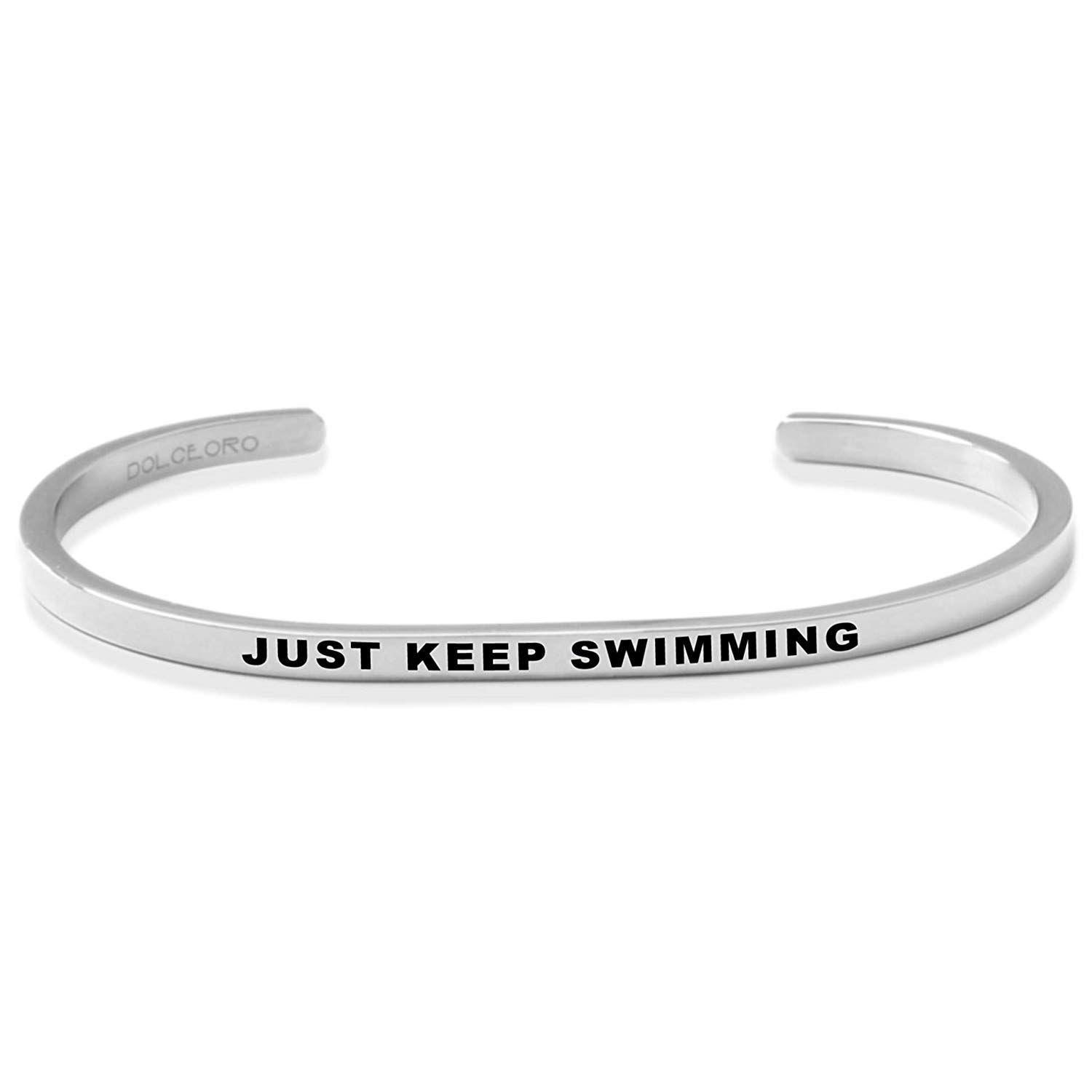 3mm Wide Shiny 316L Surgical Stainless Steel Inspirational Mantra Cuff Band Bracelet Jewelry Dolceoro JUST Dance