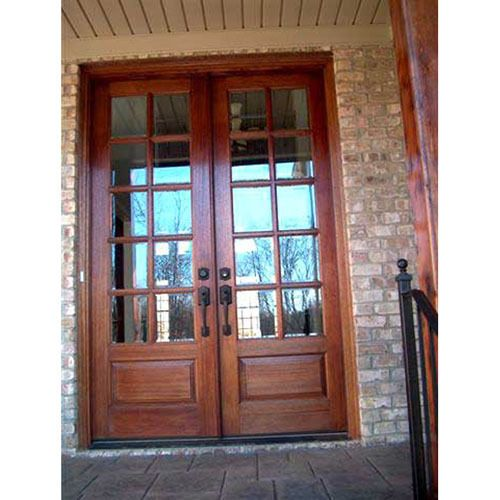 French doors rustic knotty alder oak mahogany interior for Glass french doors exterior