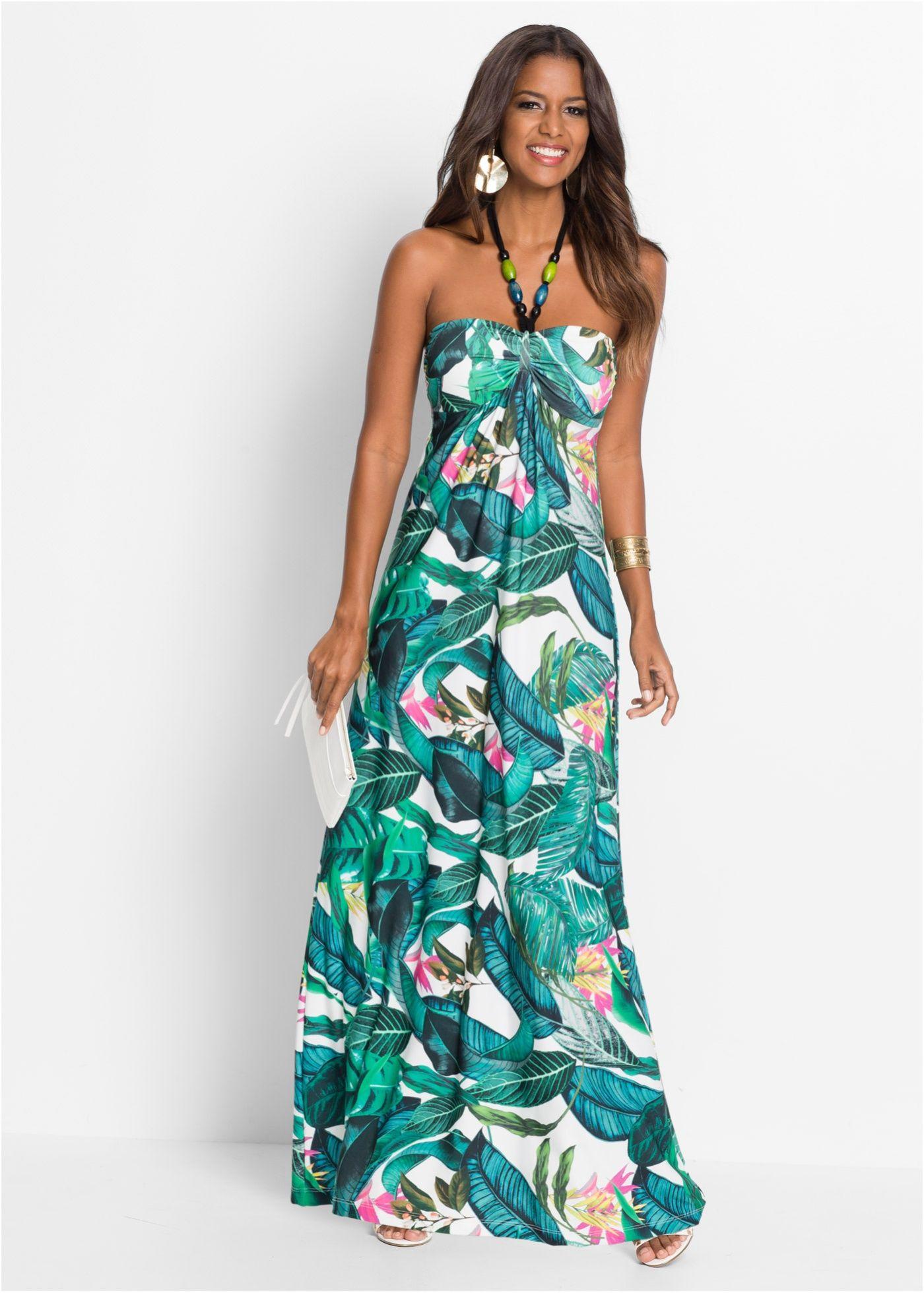 Sommerkleid lang grün geblümt - BODYFLIRT boutique jetzt im Online
