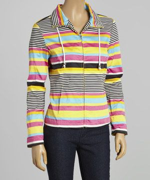 Another great find on #zulily! Pink & Black Stripe Jacket - Women - Women by Live A Little #zulilyfinds