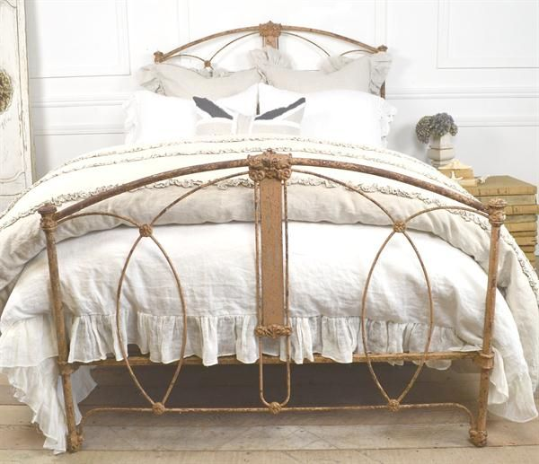 Perris Antique Iron Bed Original Paint 1800s From Full Bloom Cottage