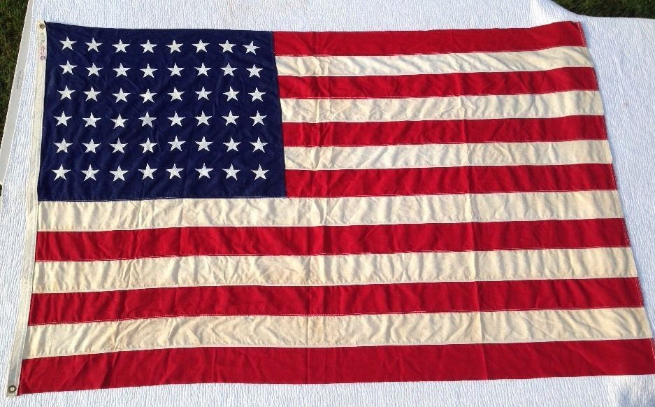 Vintage Wwii Era 48 Star Us Flag Defiance Bunting 4 X6 2 Ply Moth Proof Flag Us States Flags Flags For Sale
