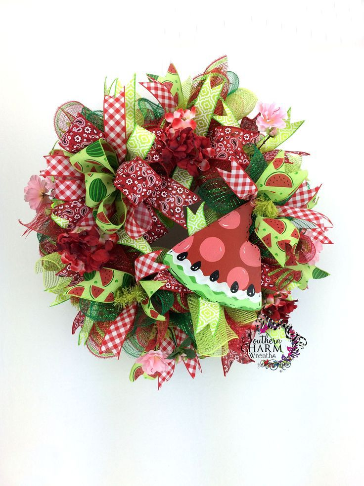 Deco mesh watermelon wreath with hand painted watermelon