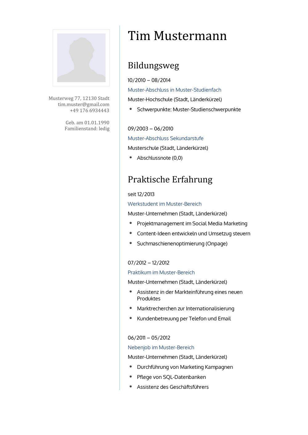 Lebenslauf Muster Vorlage 16 Lehrer 1 | Bewerbung | Pinterest ...