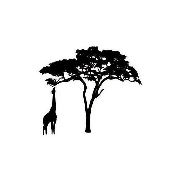 giraffe and acacia tree silhouette um african rubber stamp no17 liked on polyvore