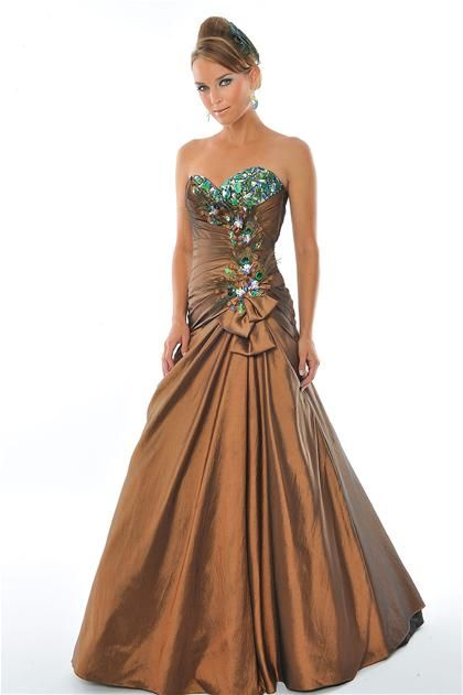 Brown and Blue Peacock Prom Dresses