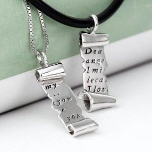Customizable 925 sterling silver engraved letter couple necklace customizable 925 sterling silver engraved letter couple necklace 4131 mozeypictures Images