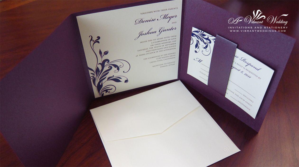 Elegant Purple And Silver Wedding Invitations