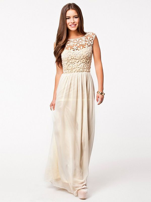 a line boat neck party maxi dress love the crochet overlay on the top