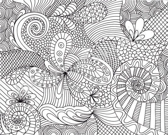 printable adult coloring pages coloring page printable zentangle inspired pattern by joartyjo on - Zentangle Coloring Pages
