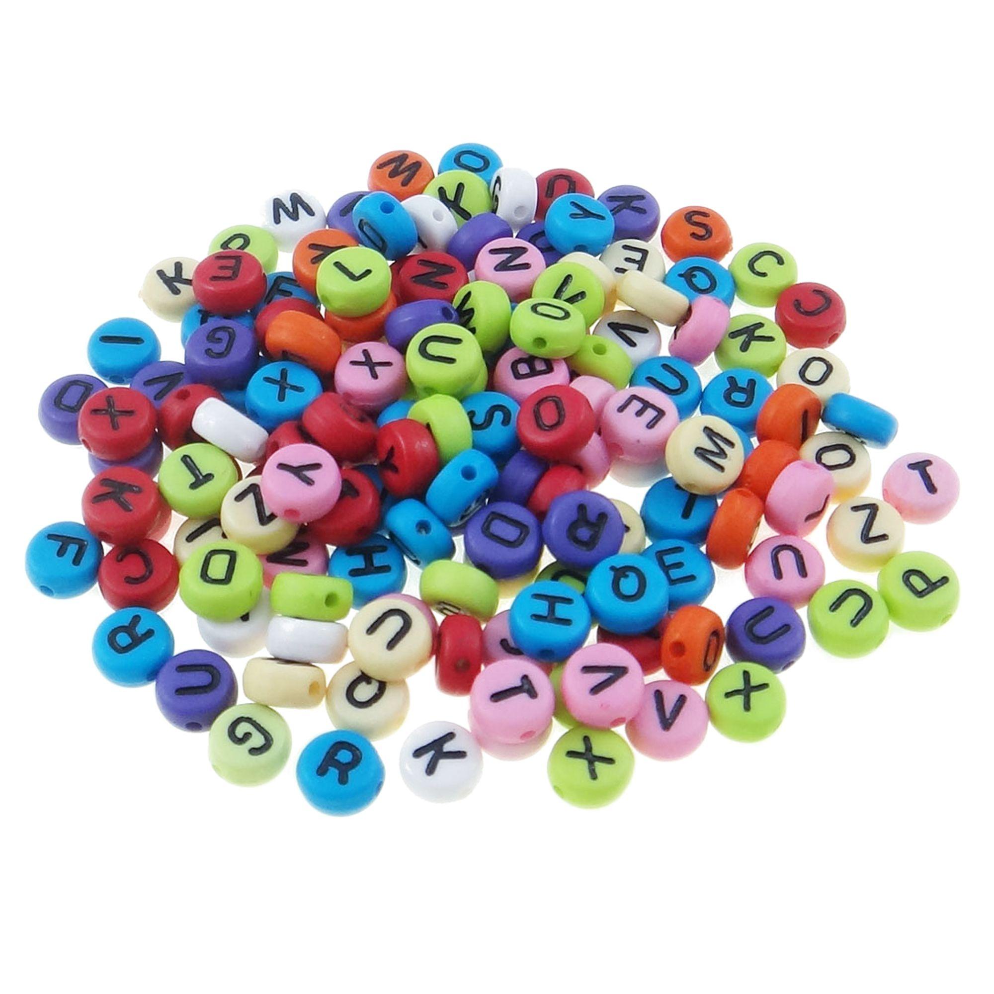 300 Buchstaben Perlen bunt 4x7mm Mix Alphabet ABC schwarz ...