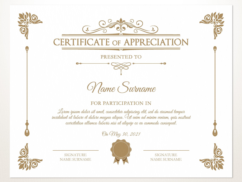 Printable Certificate Of Appreciation Certificate Template