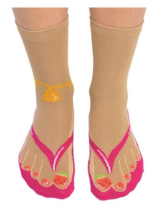 1956569b9af34 Cockney Spaniel Ladies Novelty Flip Flop Socks
