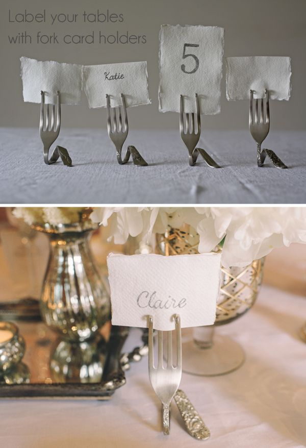 silver fork card holders wedding table number holders name card holders
