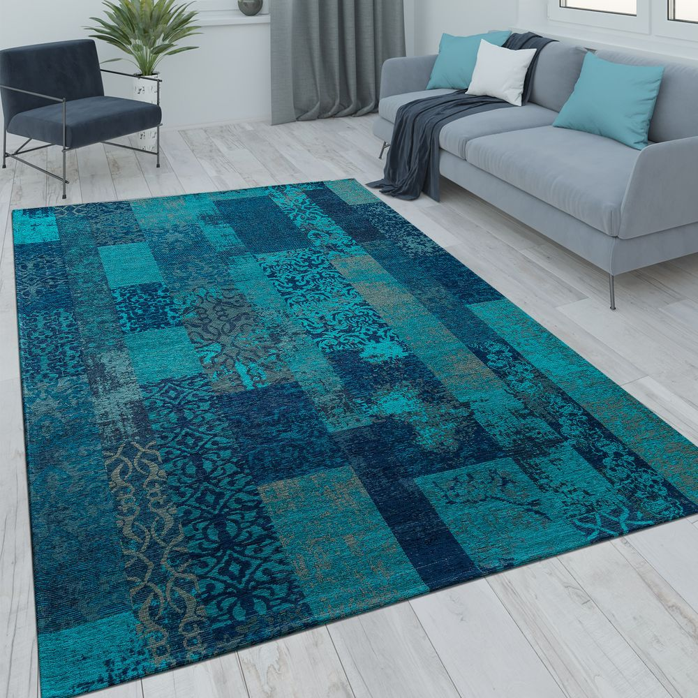Patchwork Rug Vintage Look Turquoise Patchwork rugs