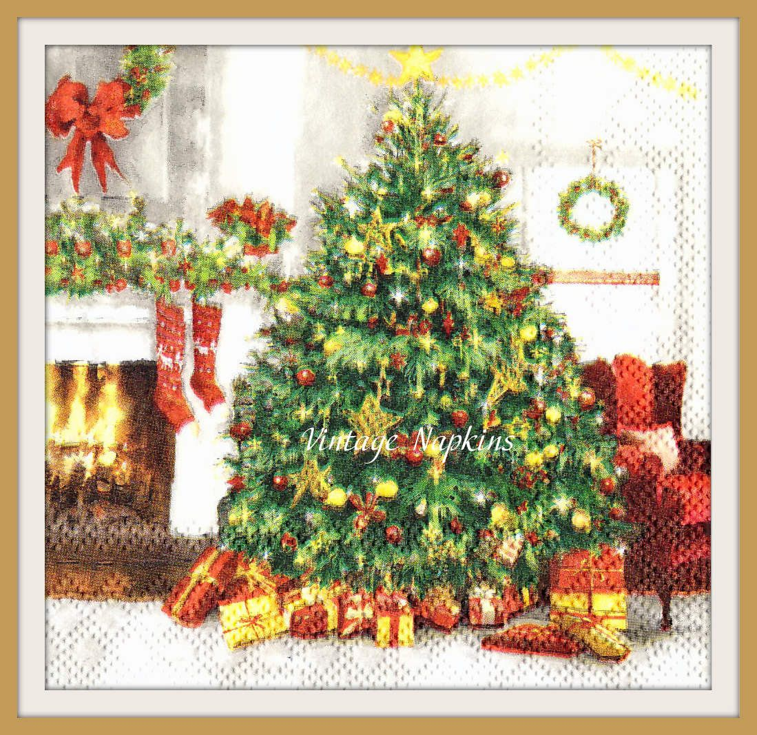 Sale two paper napkins for decoupage christmas tree with gifts