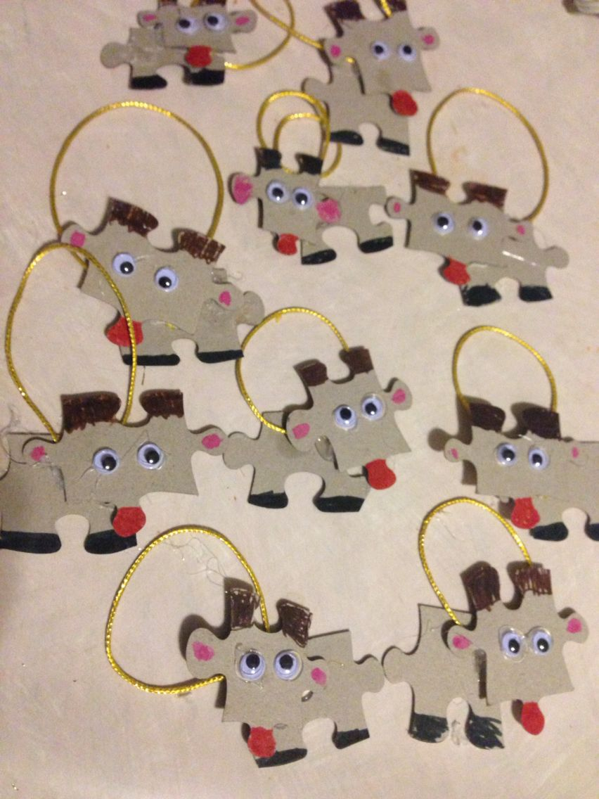 Puzzle Rudolph Christmas Ornament. Markers Glue String