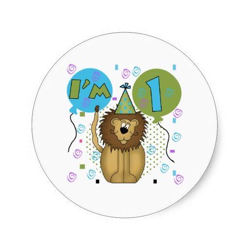 Lion I'm 1 First Birthday Classic Round Sticker