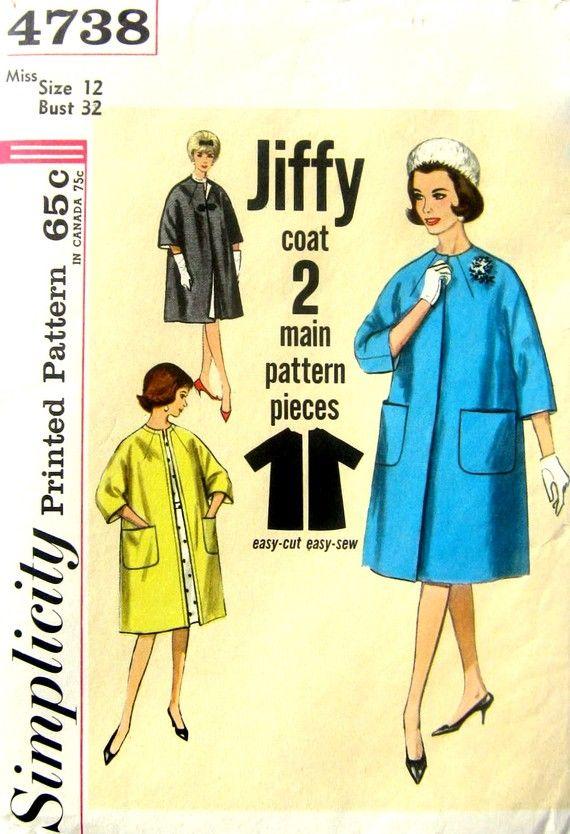 Duster Coat Vintage 60s Simplicity 4738 Kimono Coat Sewing Pattern ...