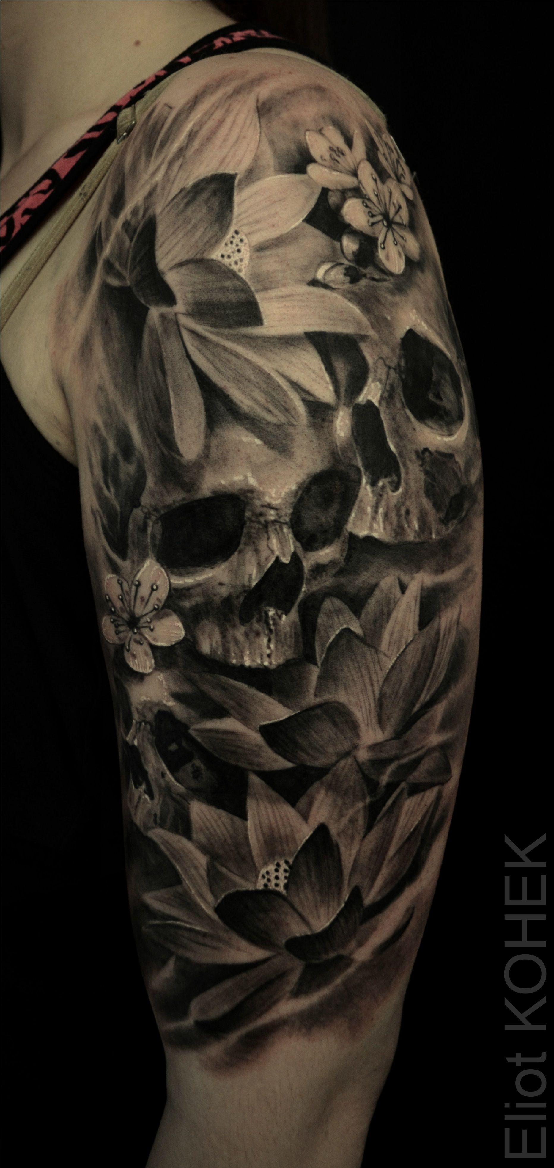 Lotus Flowers Skulls Skull Tattoos Girly Skull Tattoos Skull