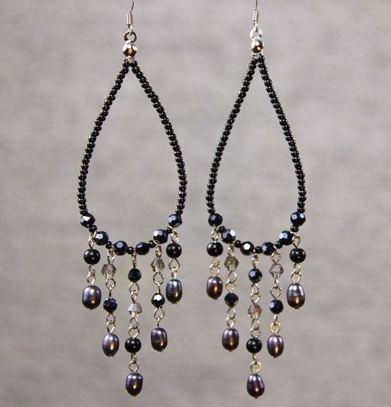 Pin by ali vossoughi on crystal chandeliers pinterest beads hoop earrings long chandelier loop tear drop by anidesignsllc aloadofball Image collections