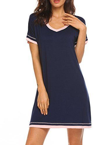 CzDolay Nightdress Womens Soft Sleepwear Short Nightgowns Knit Sleepshirts S-XXL
